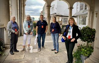 Amanda Bryett of Windsor Tourist Guides leading a small group at Windsor Guildhall