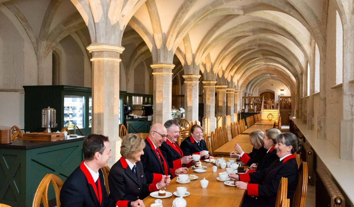 Windsor Castle wardens sample the menu at the Undercroft Cafe.  Royal Collection Trust / © Her Majesty Queen Elizabeth II
