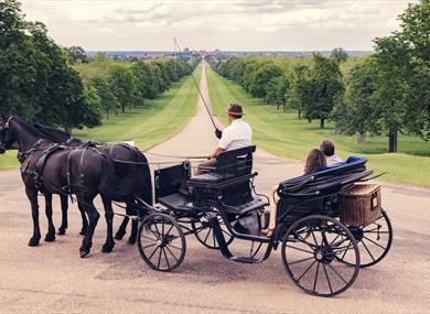 Windsor Carriages and the view down the Long Walk towards Windsor Castle