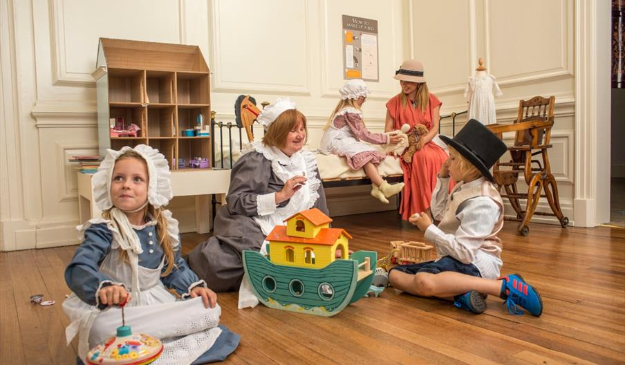 Children dressing up in one of the rooms at Sewerby Hall and Gardens in East Yorkshire.