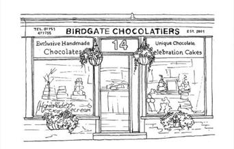 A black and white Illustration of the Birdgate Chocolatiers shop.