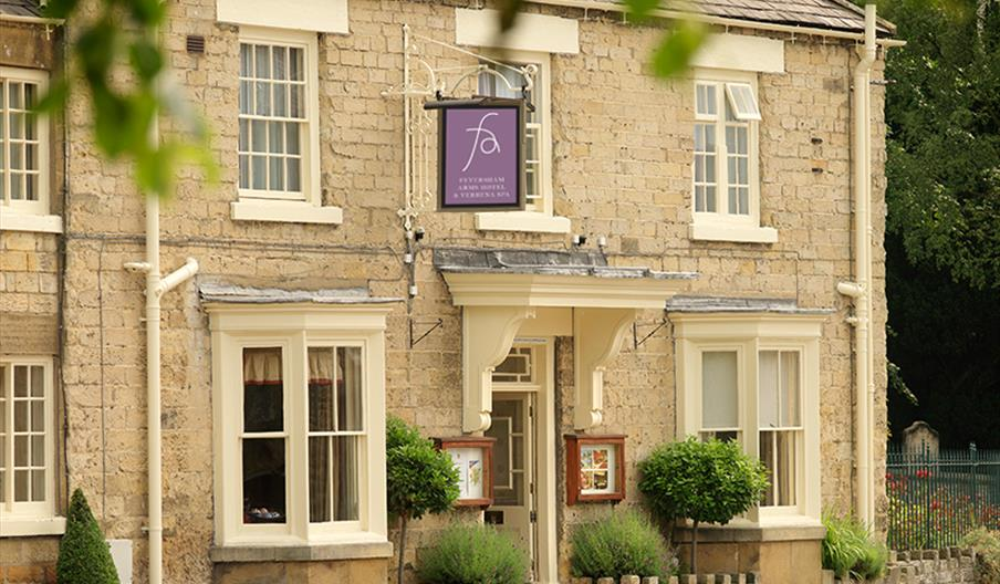 The exterior and entrance to The Feversham Arms Hotel in East Yorkshire.