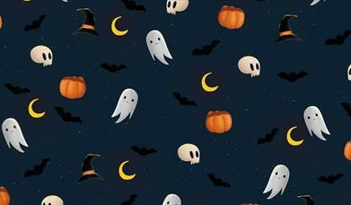 Halloween illustrations on dark navy background